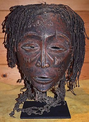 Antique Chokwe Mbunda Tribal Pwo Pwevo Initiation Wood Helmet Mask Zambia Africa
