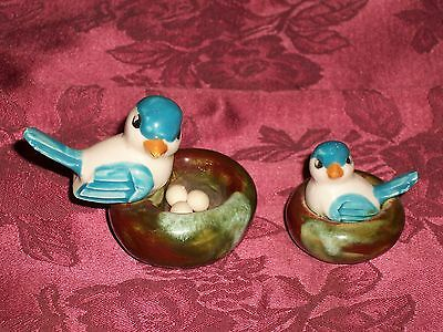 Pair of Small Ceramic Blue & White Birds on Nests Figurines One With Three Eggs