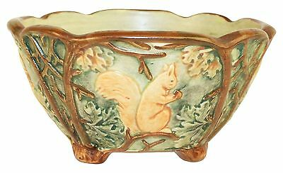 Weller Pottery Woodcraft Squirrel Bowl
