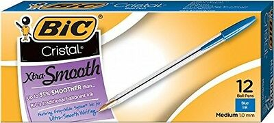 BIC Cristal Xtra Smooth Ball Pen, Medium Point (1.0 mm), Blue, 12Count