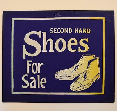 c. 1920 VINTAGE SCREEN PRINT ADVERTISING SIGN - Second Hand Shoes for SALE