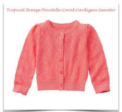 *nwt* Gymboree Girls 5-6 7-8 10-12 Tropical Breeze Coral Pointelle Cardigan