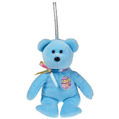 TY Basket Beanie Baby -CANDIES the Blue Bear (5.5 inch) MWMTs Easter Stuffed Toy