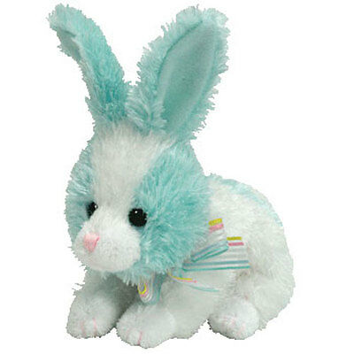 TY Basket Beanie Baby - FLIPSY the Teal & White Bunny (4-5 inch) - MWMTs