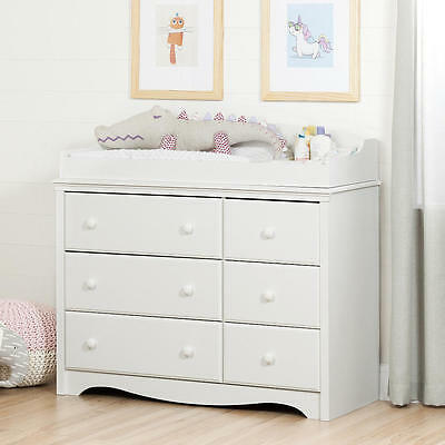 South Shore Furniture Angel Changing Table/Dresser with 6 Drawe - Pure White