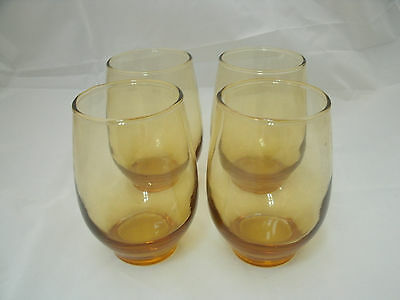 """Vtg Libbey Rock Sharpe TEMPO Amber Gold 4-10 oz 4 1/2"""" Drinking Glass Tumblers"""