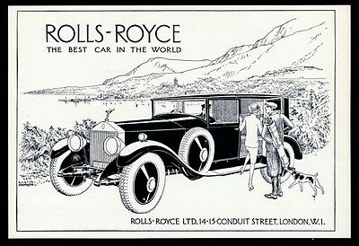 "1928 Rolls-Royce ""The Best Car In The World"" illustrated vintage UK print ad"