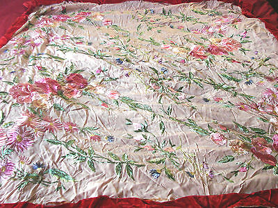 Vintage Antique Piano Scarf Embroidered Pink Flowers TLC red velvet trim  Silk