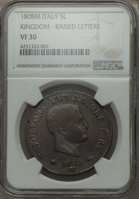 Italy Kingdom Of Napoleon  1808-M  5 Lire Silver Coin, Certified By Ngc Vf30
