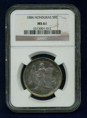 Honduras Republic 1884 50 Centavos Certified Ngc Ms61