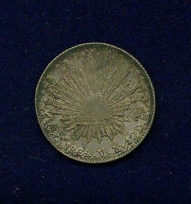 MEXICO ZACATECAS MINT 1862-ZsVL  8 REALES SILVER COIN, ALMOST UNCIRCULATED