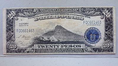 1944 $20 Peso Philippines Treasury Certificate Series #66 VICTORY NOTE XF
