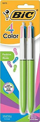BIC 4 Color Fashion Ball Pen, Medium Point (1.0mm), Assorted Ink, 2Count