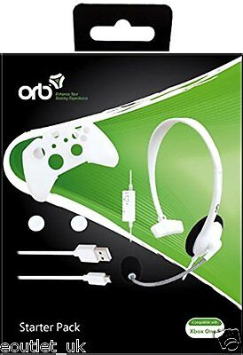 ORB Starter Pack White Xbox One S Accessory Bundle includes Chat Headset NEW