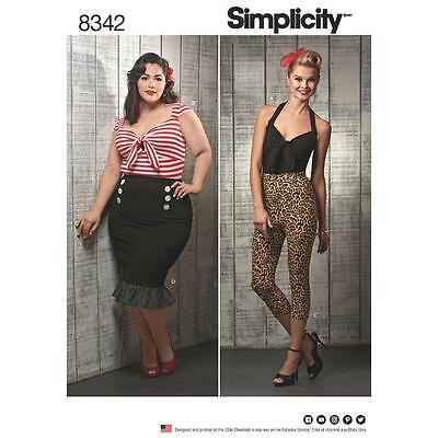 Simplicity Sewing Pattern Misses Rockabilly Top Pants Skirt 10-18 7 20W-28W 8342