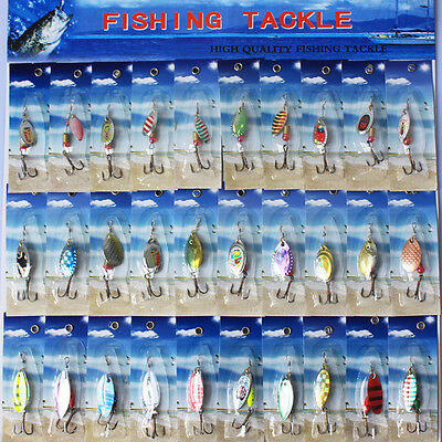 30x Assorted Metal Spinners Spinner Fishing Lures Bait Salmon Bass treble hook.S