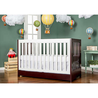 Dream On Me Milano 5-in-1 Convertible Crib - White and Solid Chocolate