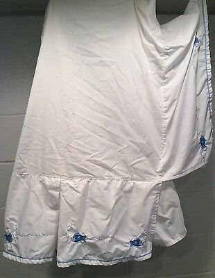 Pottery Barn Kid PBK Cribskirt Nursery Pleated Fishies Fish Blue White Applique