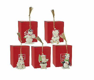 Lenox Very Merry Christmas Xmas Holiday Porcelain Tree Ornaments Set Of 5