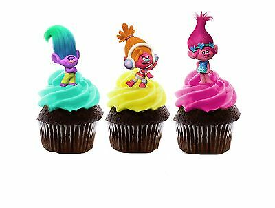 Trolls Edible Wafer Stand-Up Cupcake Toppers - Set of 16