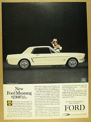 1964 Ford Mustang Hardtop white car color photo vintage print Ad