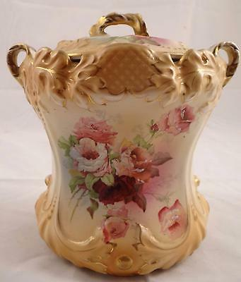 F.w. & Co. Royal Oban England Porcelain Tobacco Jar Floral Gold Gilding