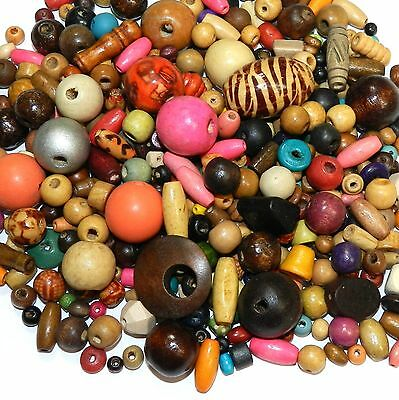 W766f Assorted Size, Color & Shape 4-20mm Wood Bead Mix 100-Grams