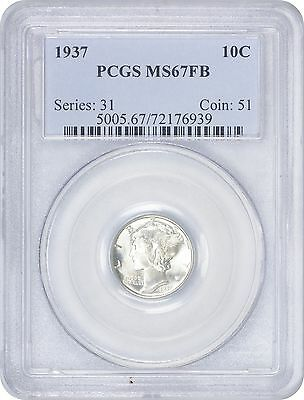 1937 Mercury Dime MS67FB PCGS