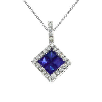 """14K White Gold Sapphire Princess Pendant with 18"""" Chain"""