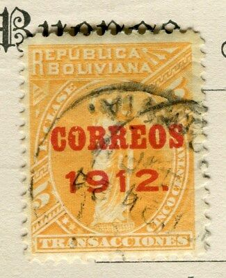 BOLIVIA;  1912 early CORREOS Optd. issue fine used 5c. value