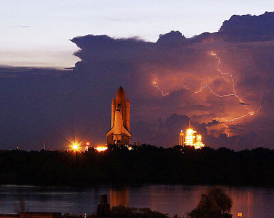 STS-128 Discovery Rollout In Thunder Storm 11x14 Silver Halide Photo Print