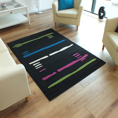 Large Austin Lines Rug In Black Green & Blue 1.6m X 2.3m (5'3 X 7'6 Approx)
