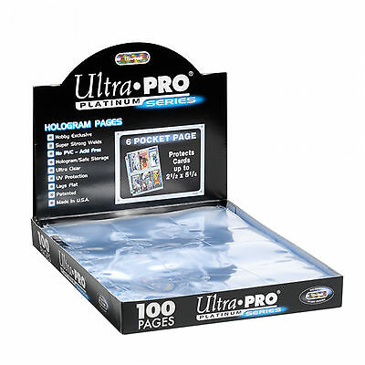 100 ULTRA PRO PLATINUM 6-POCKET Pages 2 1/2 x 5 1/4 Sheets Protectors Brand New
