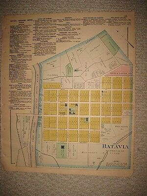Antique 1891 Batavia City Clermont County Ohio Handcolored Map Detailed Rare Nr