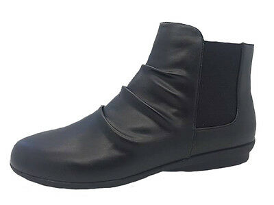 Ladies Shoes Grosby Eve Black Low Wedge Ankle Boot Shoe Work Casual Boots 6-11