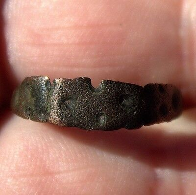 Circa 900 1000 AD Ancient Hand Forged Viking Bronze Ring With Dot Runes