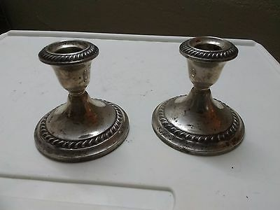 Vintage Pair Of Gorham Sterling Silver Weighted Candlestick Holders 667