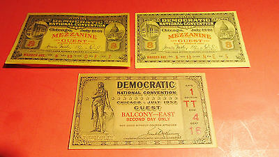 Vintage Democratic National Convention Ticket Lot Of 3 1940 Fdr, & 1952 Chicago