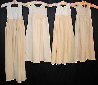 Antique Dress Undergarment Slips Childs Challis Lot Of 4 Museum Deaccessioned