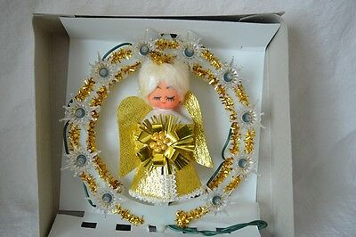 Vintage Zellers Gold Tinsel Lighted Christmas Tree Top  Angel Xmas Boxed