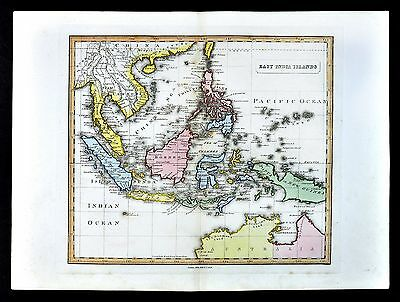 1839 Bell Map - East Indies - Singapore Philippines Indonesia Malaysia Australia
