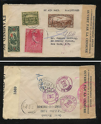 Haiti  double  censor   registered cover to US  1942    JS1228