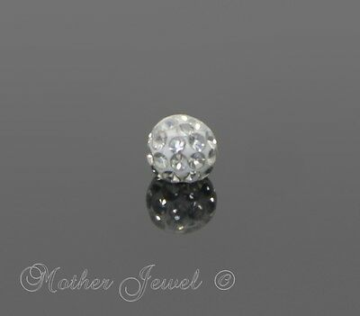14G Surgical Steel Clear Crystal Navel Tragus Belly Helix Bar Replacement Ball