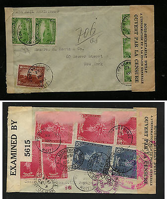 Haiti   double censor cover to New York  1945  nice franking    JS0106