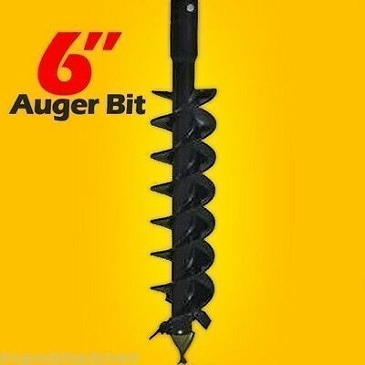 """6"""" Skid Steer Auger Bit,McMillen HDC,For Difficult Digging,4'Long,2"""" Hex Drive"""