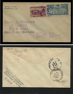 Dominican Republic  special flight cancel cover  1931             JS0124