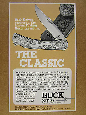 1981 Buck Knives THE CLASSIC Model 111 Knife vintage print Ad