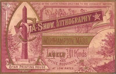 NORTHAMPTON, MA ~ A. SNOW, LITHOGRAPHY ~ PRINTERS TRADE CARD ~ Labels  c. 1880's