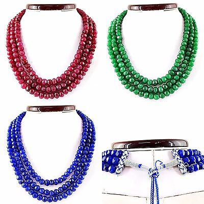 Stunning Genuine Faceted Emerald Ruby Sapphire Necklace - Best Deal