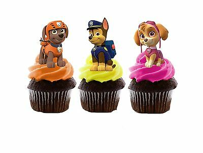 Paw Patrol Edible Wafer Stand-Up Cupcake Toppers - Set of 16